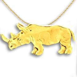14k Gold Rhinoceros Pendant