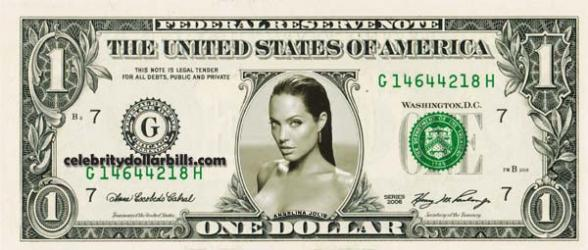 Angelina Jolie Dollar Bill