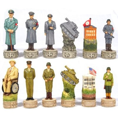 world war 2 map allies. World War II chess set with