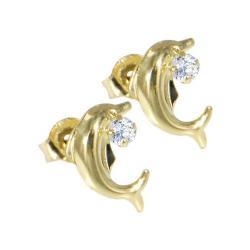 Gold Pearl Dolphin Earrings