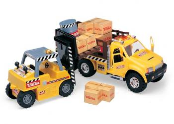 Tonka Mighty Motorized Fork Lift and Stake Truck