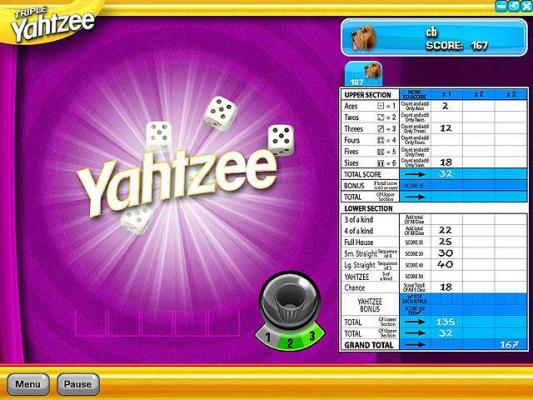 Zylom Yahtzee Throw the dice to build straights, full houses